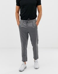 Jack And Jones Tapered Trouser In Tailored Fabric Vertical Stripe Dark Grey Melnage