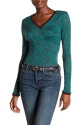 Free People Lace Long Sleeve Shirt Green
