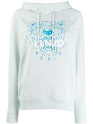 Kenzo Embroidered Tiger Hoodie Blue