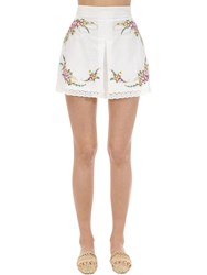 Zimmermann Print And Embroidery Linen Shorts Ivory
