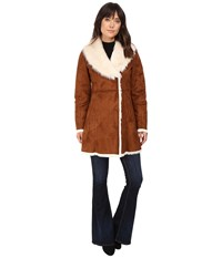 Marc New York Sarah Faux Suede Fur Coat Whiskey Women's Coat Brown