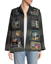 Libertine Button Front Embroidered Patchwork Army Jacket Multi