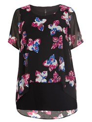 Evans Floral Print Busty Fit Overlay Top Black