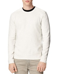 Calvin Klein Jeans Mixed Media Waffle Knit Pullover Pale Grey