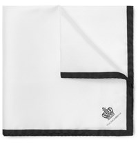Dolce And Gabbana Printed Silk Pocket Square White