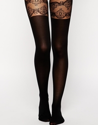 Asos Decorative Suspender Tights With Support Detail Black