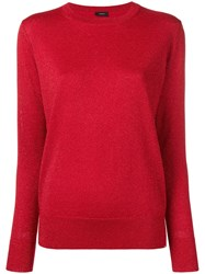 Joseph Round Neck Jumper Red