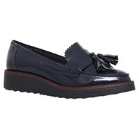 Carvela Limbo Wedge Heeled Loafers Navy Patent