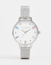 Olivia Burton Ob16rb10 Rainbow Bee Boucle Mesh Watch In Silver