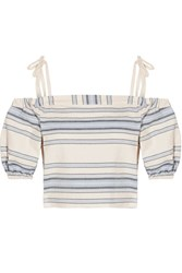 Lemlem Halima Off The Shoulder Striped Cotton And Linen Blend Top Sky Blue