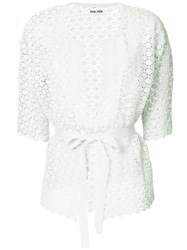 Max And Moi Openwork Lace Belted Cardigan Green