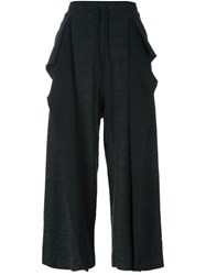 Lost And Found Rooms 'Melange Soft Crop' Trousers Black