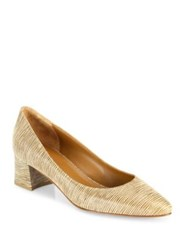Aquatalia By Marvin K Phoebe Striped Leather Block Heel Pumps Nude Black