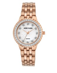 Anne Klein Diamond And Moth Of Pearl Dial Quartz Watch Rose Gold