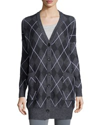 Haute Hippie Long Sleeve Argyle Cardigan Black Charcoal Swan Moul Chg Swan