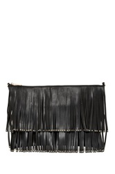 Deux Lux Studded Fringe Messenger Bag Black