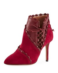 Alaia Mixed Media Stitched Ankle Booties Burgundy