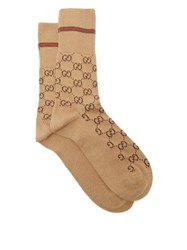 Gucci Gg Supreme Intarsia Cotton Blend Socks Camel