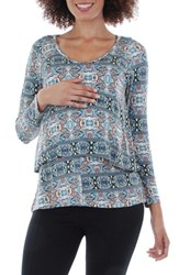 Everly Grey Women's Payton Maternity Nursing Top Vanilla Paisley