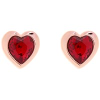 Ted Baker Hanella Swarovski Crystal Heart Stud Earrings Rose Gold Red