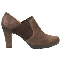 Geox Inspiration High Cone Heel Shoe Boots Chestnut Suede