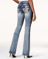 Miss Me Embroidered Fleur De Lis Dark Blue Wash Bootcut Jeans Medium Blue