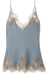 Carine Gilson Chantilly Lace Trimmed Silk Satin Camisole Blue