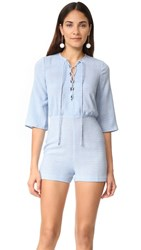Ali And Jay Weekend One Romper Plaid Chambray