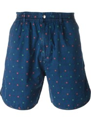 Maison Kitsune Embroidered Flower Detail Shorts Blue