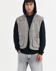 Brooklyn Supply Co. Co Utility Gilet In Check Brown