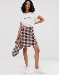 Cheap Monday Wrap Skirt In Check Multi