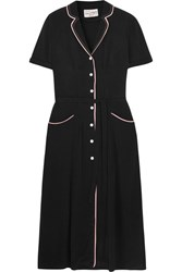 Hvn Maria Crepe De Chine Midi Dress Black