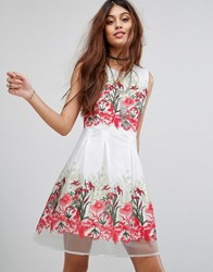 Rd And Koko Prom Dress With Floral Embroidery White