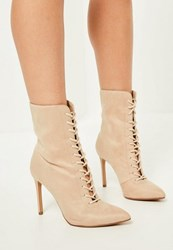 Missguided Nude Pointed Toe Lace Up Heeled Ankle Boots Stone