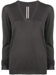 Rick Owens Classic V Neck Knit Sweater Grey