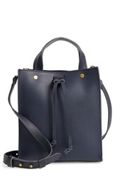 Madewell Small Trick Leather Top Handle Tote Blue Autumn Navy
