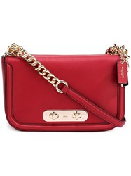 Coach Flap Closure Shoulder Bag Red
