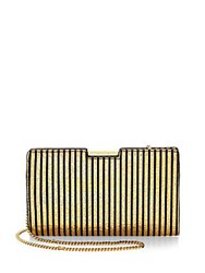 Milly Small Frame Leather Clutch Silver