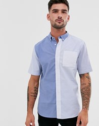 River Island Short Sleeve Shirt In Blue Color Blocking