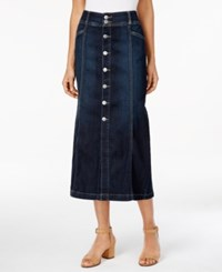 Styleandco. Style Co. Petite Button Front Denim Midi Skirt Only At Macy's Caneel