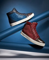 Guess Boden Gold Toe High Top Sneakers Men's Shoes Dark Red