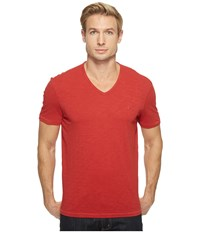 John Varvatos Slub Short Sleeve Peace V Neck With Peace Sign Chest Embroidery K3037t1b Poppy Men's Clothing Red