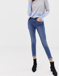 Oasis Mid Rise Skinny Jeans In Mid Wash Blue