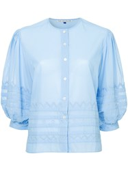 Jupe By Jackie Cropped Sleeves Shirt Blue