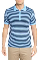 Bobby Jones Men's Tech Stripe Pique Polo Sky Blue