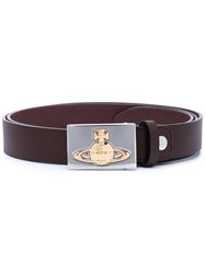 Vivienne Westwood Red Label Logo Embossed Belt Women Calf Leather One Size Brown