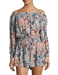 Free People Pretty And Off The Shoulder Floral Romper Pink