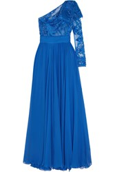 Zuhair Murad One Shoulder Embellished Tulle And Silk Blend Chiffon Gown Blue