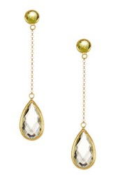 Candela 18K Yellow Gold Plated Sterling Silver Peridot And Green Amethyst Drop Earrings Multi