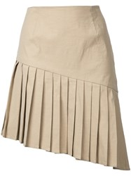 Sea Pleated Mini Skirt Women Cotton Linen Flax Spandex Elastane Viscose 4 Nude Neutrals